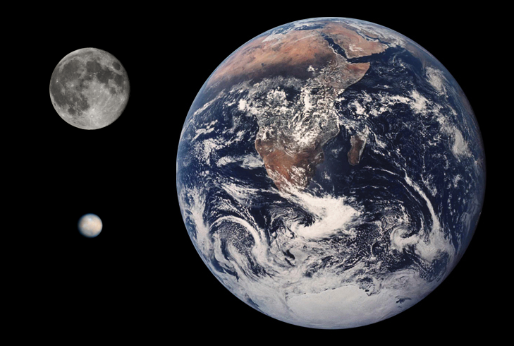 Ceres Earth Moon size comparison