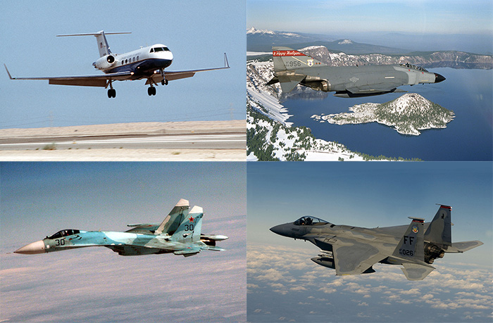 Gulfstream, F-4 Phantom II, F-15 Eagle, and Su-27 Flanker
