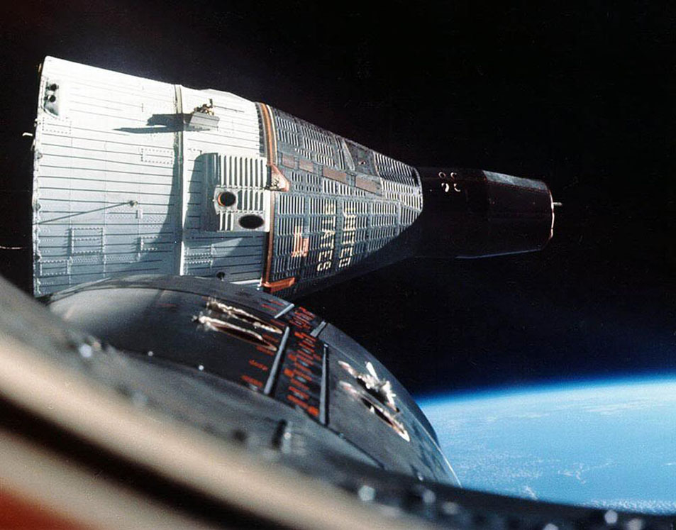 Gemini 6 and Gemini 7 rendezvous in Earth orbit
