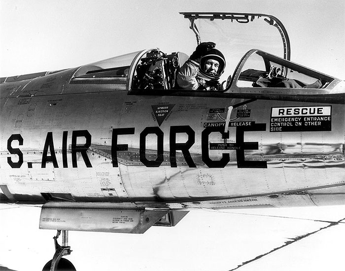 Chuck Yeager piloting Lockheed NF-104 Starfighter astronaut trainer