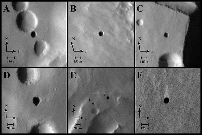 Arsia Mons Martian cave openings
