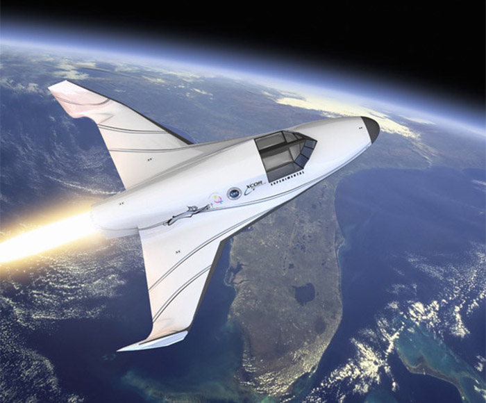 XCOR Lynx suborbital reusable rocket spacecraft over Florida