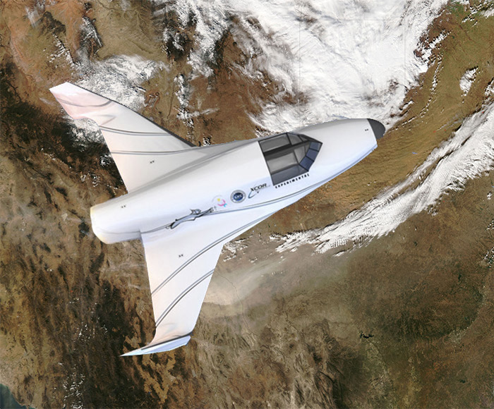 XCOR Lynx spacecraft reentry over West Texas