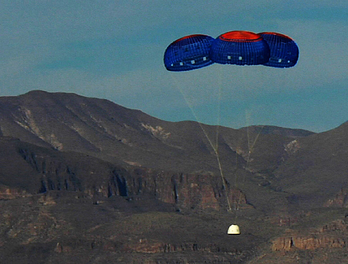 Blue Origin capsule under parachutes