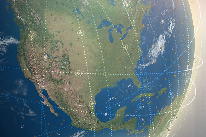 Orbital satellite tracks