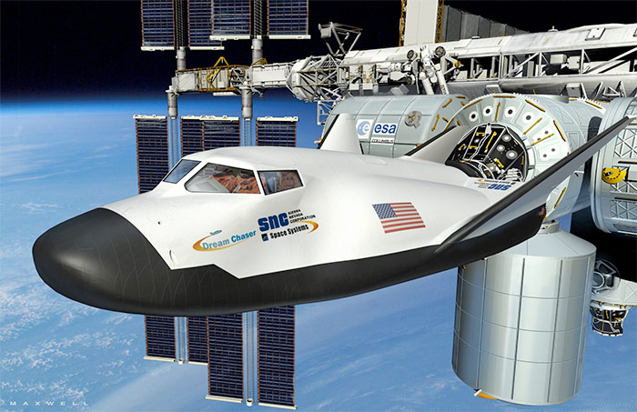 Sierra Nevada Dream Chaser lifting body docked to Internation Space Station