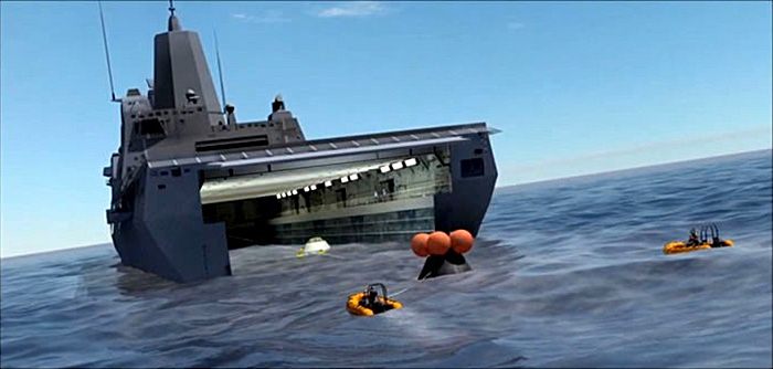 NASA Orion space capsule recovery by US Navy LPD (artist's concept)