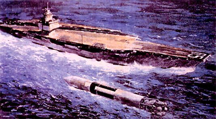 Robert Truax / Aerojet General Sea Dragon rocket concept with aircraft carrier for scale