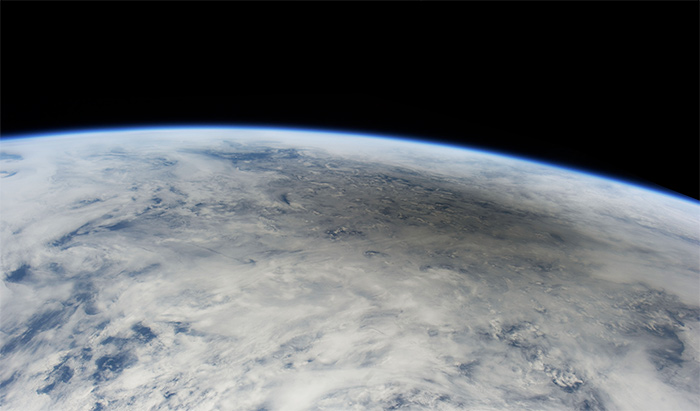 Moon's shadow on the Earth, as seen from space during an annular solar eclipse