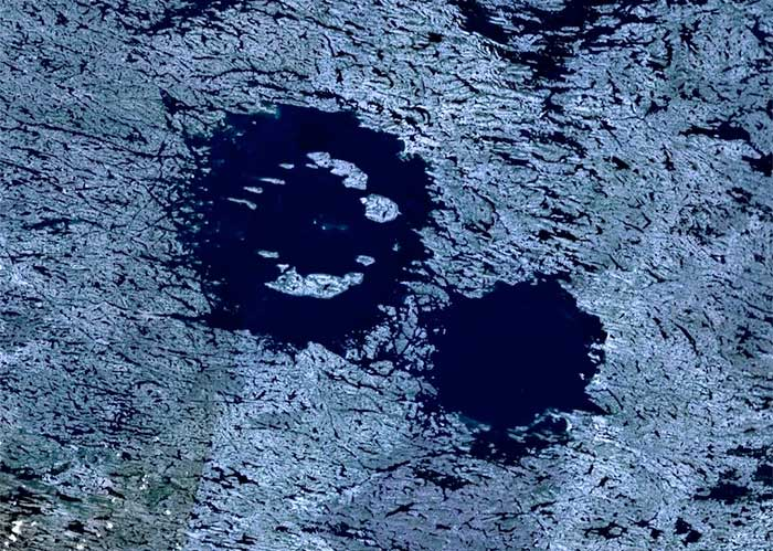 Lac à l'Eau Claire, also called the Clearwater Lakes, near Hudson Bay, Canada as seen from the Space Shuttle