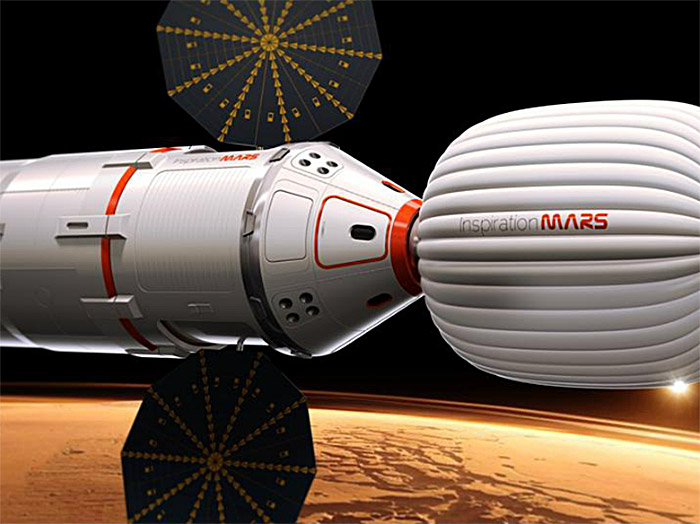 Inspiration Mars capsule, inflatable module, and upper stage