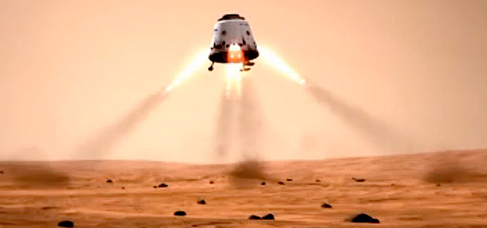 Space Exploration Technologies (SpaceX) Red Dragon capsule landing on Mars