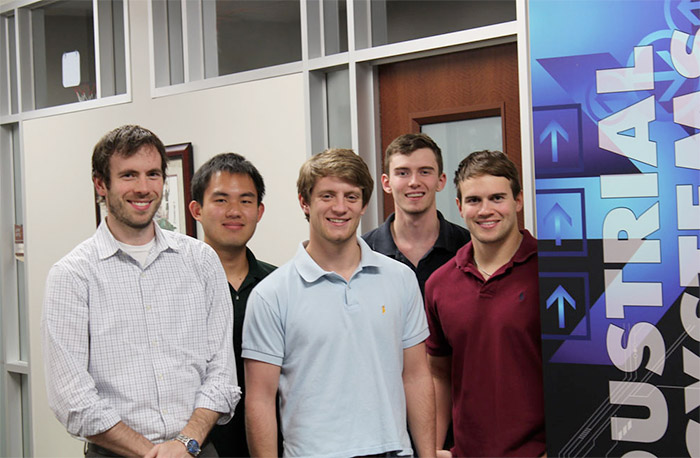 Lynx Cub Payload Carrier development team members Prof. Justin Yates, Texas A&M industrial and systems engineering students Eric Chao, Cress Netherland, Donald Boyd and Austin Goswick.
