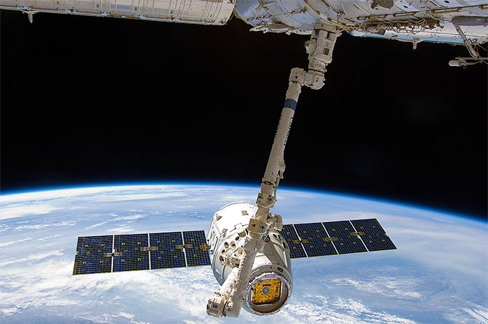Space Exploration Technologies (SpaceX) Dragon capsule captured for berthing at the International Space Station (ISS)
