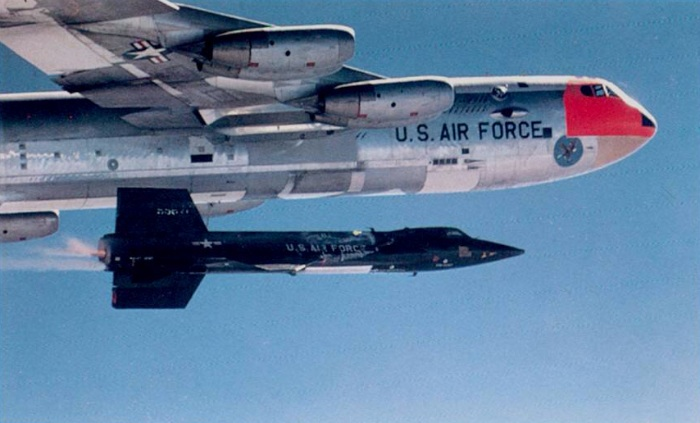 North American X-15 drop from B-52 Stratofortress