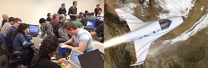 Space Hacker Workshop (left), XCOR Lynx Spacecraft Over Texas (right)