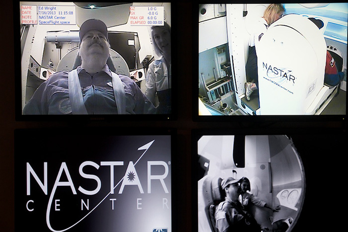 Citizen astronaut candidate Edward Wright training in centrifuge at NASTAR Center