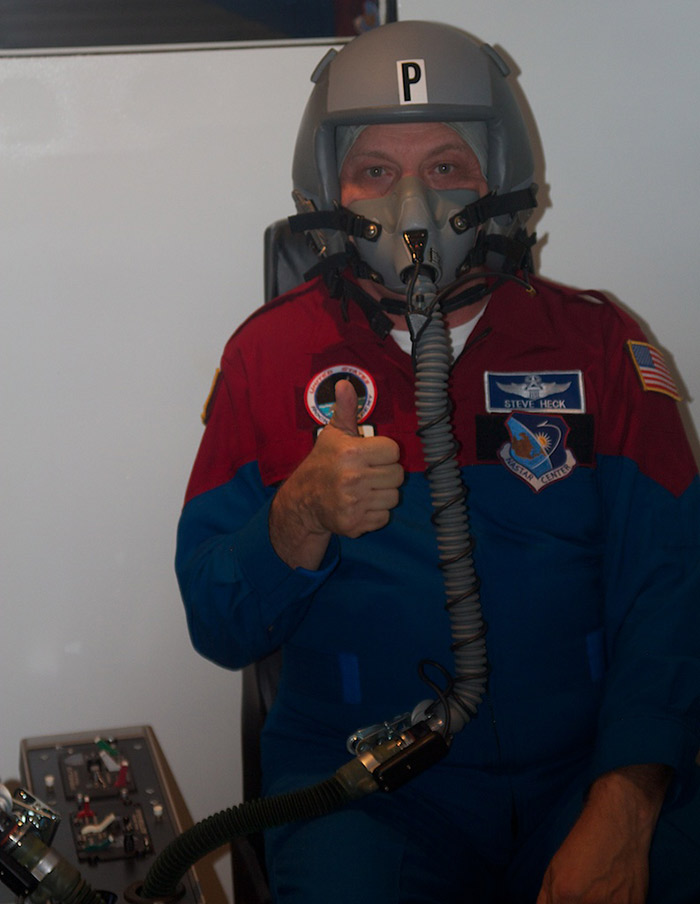 Citizen-astronaut candidate Lt. Col. Steve Heck prepares for altitude-chamber training at NASTAR Center