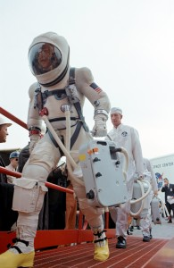 Astronaut James Lovel is shown in the G-5C suit prior to boarding Gemini 7