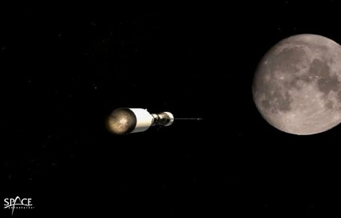 Space Adventures lunar expedition vehicle fires engines on its way to the Moon