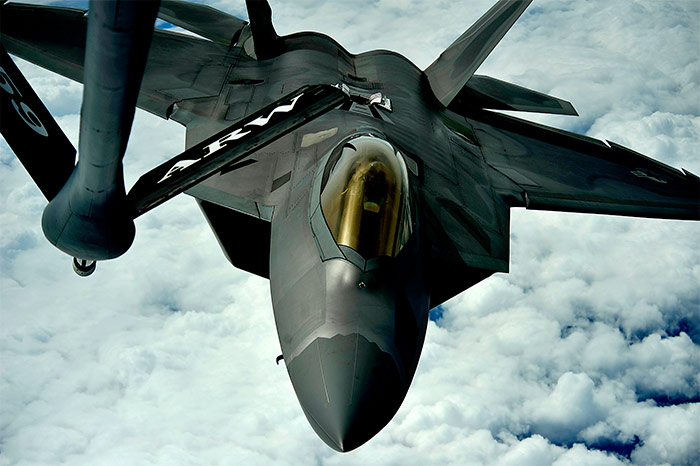F-22 Raptor during aerial refueling