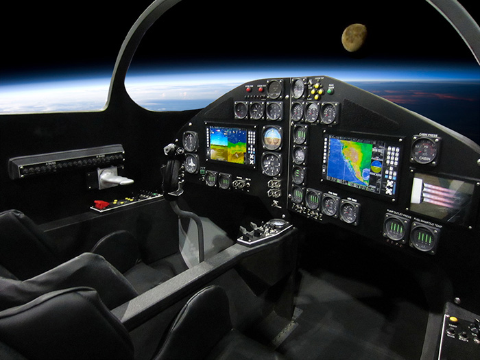 Earth and Moon from cockpit of XCOR Lynx spacecraft