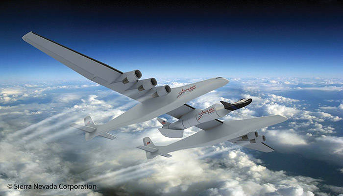 Stratolaunch aircraft and Sierra Nevada Dream Chaser lifting body